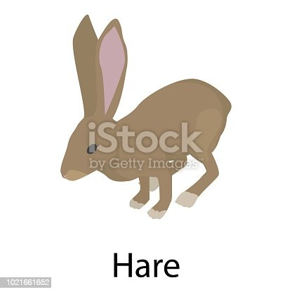 Hare icon. Isometric of hare vector icon for web design isolated on white background