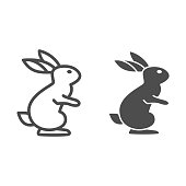 Hare line and solid icon, wild animal concept, rabbit on back paws sign on white background, cute bunny from forest icon in outline style for web design. Vector graphics