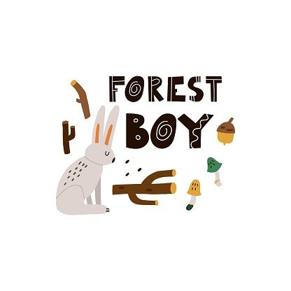 Hare print or card. Hand drawn cartoon scandinavian forest animal, forest boy text, cute scandi poster, kids t-shirt and nursery design, woodland vector isolated illustration
