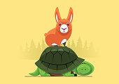 vector illustration of hare standing on tortoise shell