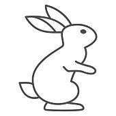 istock Hare thin line icon, wild animal concept, rabbit on back paws sign on white background, cute bunny from forest icon in outline style for web design. Vector graphics. 1285018935