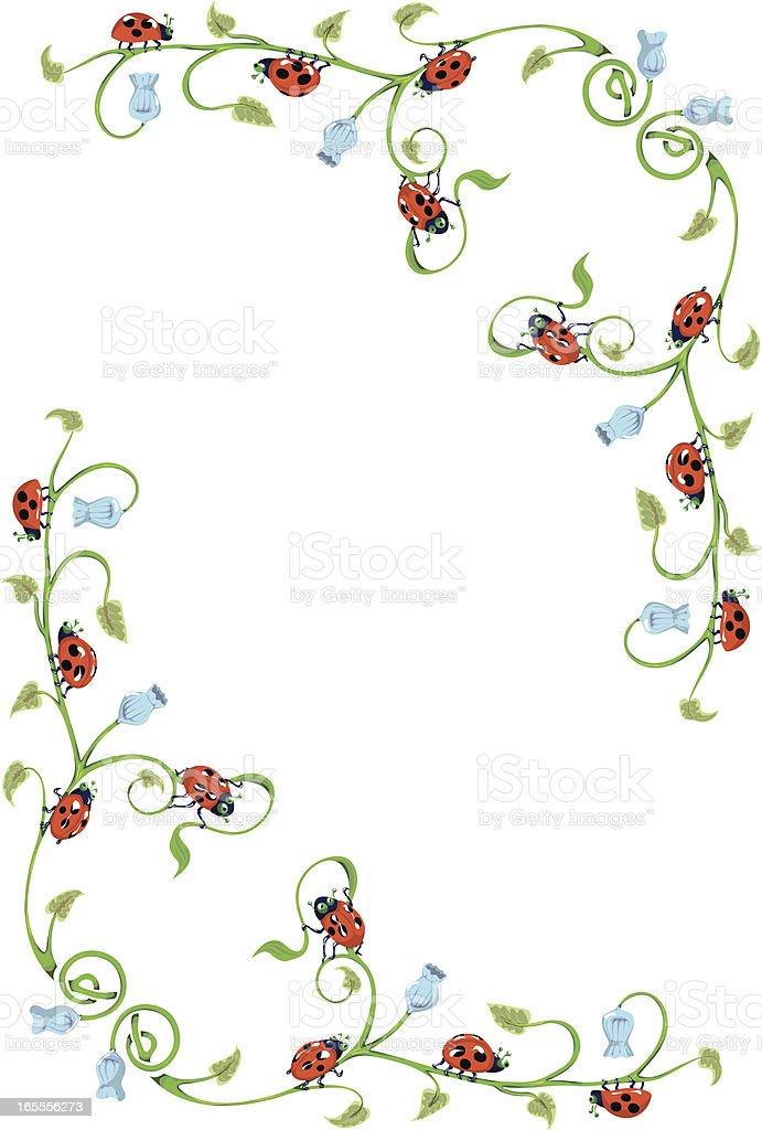 Harebell and Ladybug Border. royalty-free harebell and ladybug border stock vector art & more images of angle