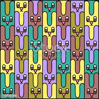 Hares. Texture. Abstract image of hares. Animals of different colors. The contour is black. Vector image.