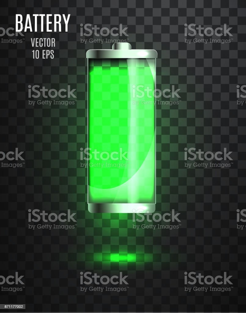 Harged Battery Low Charging Status Indicator Glass Realistic Power Illustration