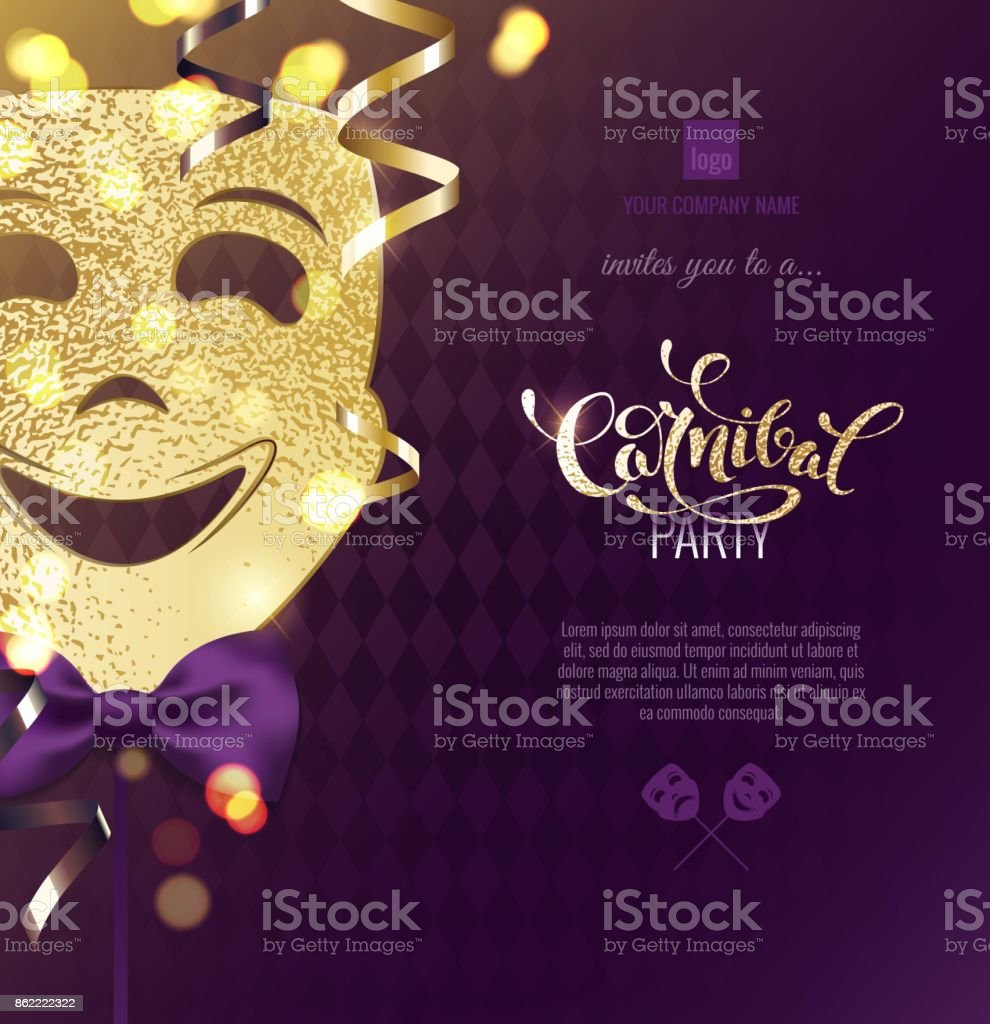 Harlequin carnival mask on colorful blur background. vector art illustration
