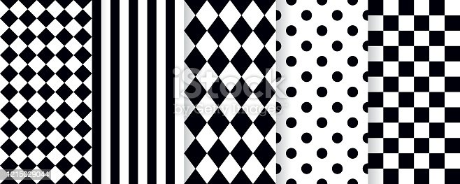 istock Harlequin seamless pattern. Vector illustration. Black white background with rhombuses. 1215029044