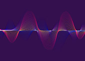 Vector Illustration of a Beautiful and Harmonic Spectrum Sound Waves over a dark purple background