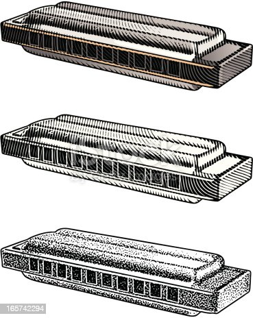 Engraving style illustration of harmonica. Color and black and white versions included plus mezzotint. Great design elements.