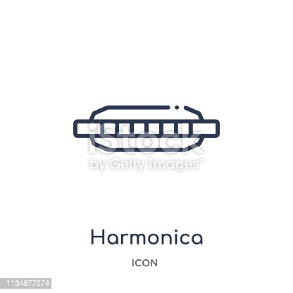 harmonica icon from music outline collection. Thin line harmonica icon isolated on white background.