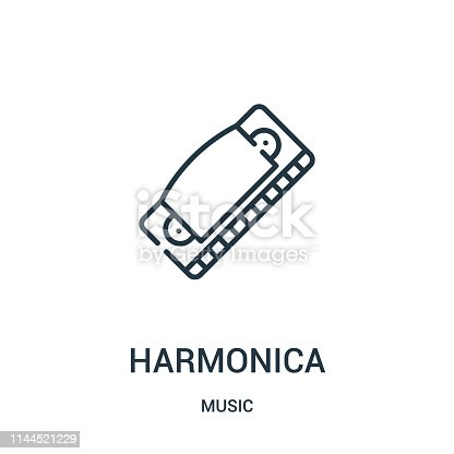 harmonica icon vector from music collection. Thin line harmonica outline icon vector illustration. Linear symbol for use on web and mobile apps, logo, print media.