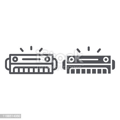 Harmonica line and glyph icon, music and sound, wind musical instrument sign, vector graphics, a linear pattern on a white background, eps 10.