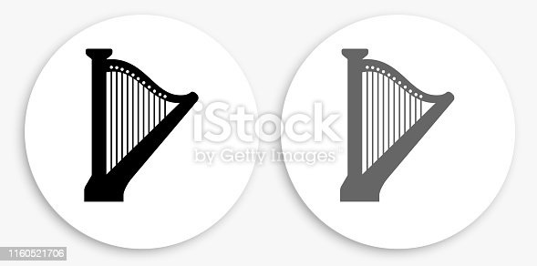 Harp Black and White Round Icon. This 100% royalty free vector illustration is featuring a round button with a drop shadow and the main icon is depicted in black and in grey for a roll-over effect.