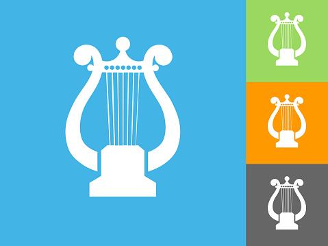 Harp  Flat Icon on Blue Background