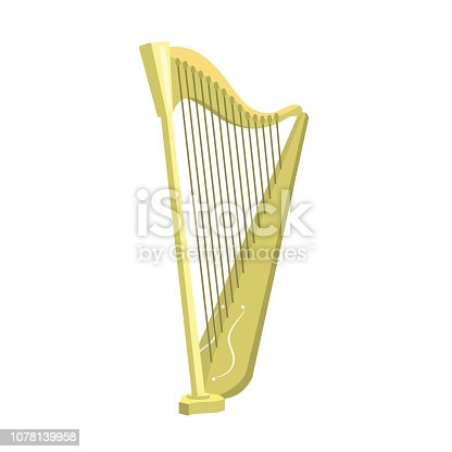 Harp flat icon. Ireland music, folklore, symphony orchestra. Musical instruments concept. Vector illustration can be used for topics like ethnic music, traditional culture, art