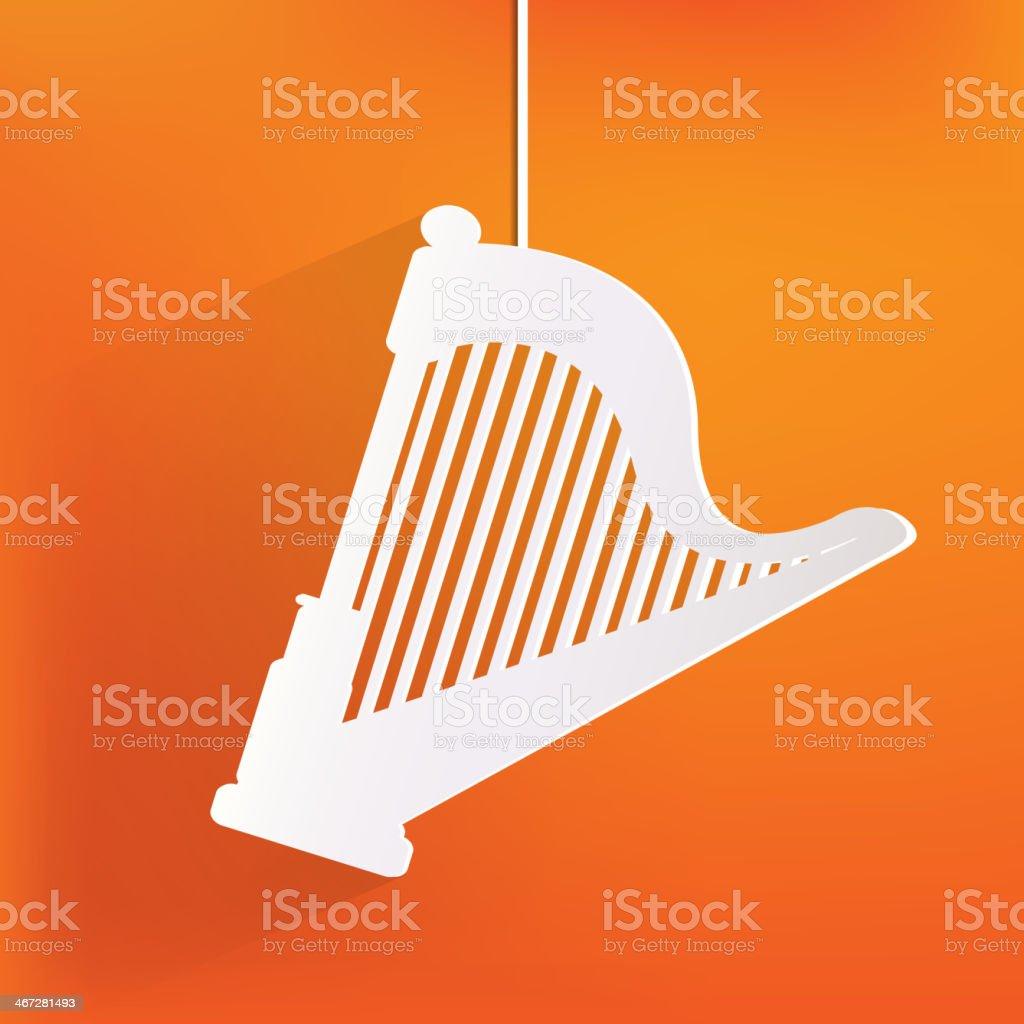 Harp icon. Msic instruments vector art illustration