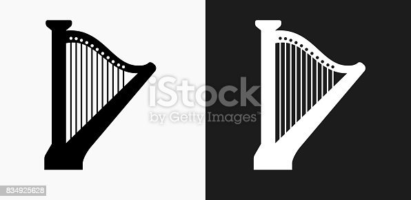 Harp Icon on Black and White Vector Backgrounds. This vector illustration includes two variations of the icon one in black on a light background on the left and another version in white on a dark background positioned on the right. The vector icon is simple yet elegant and can be used in a variety of ways including website or mobile application icon. This royalty free image is 100% vector based and all design elements can be scaled to any size.