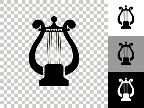 Harp Icon on Checkerboard Transparent Background