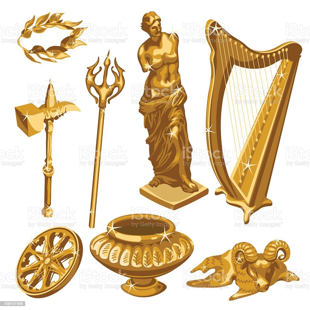 Harp, statue, weapons and other items of antiquity vector art illustration