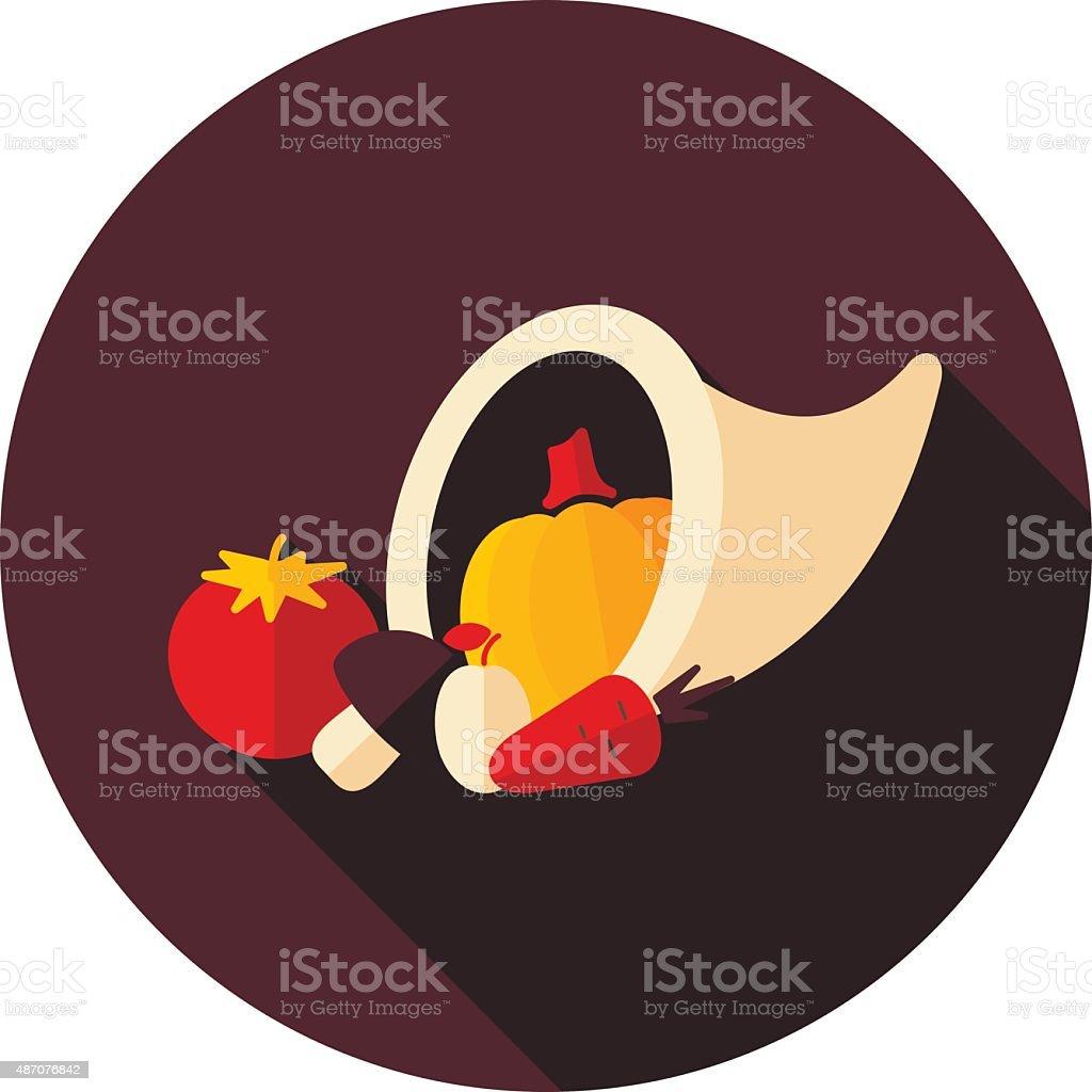 Harvest cornucopia flat icon with long shadow vector art illustration