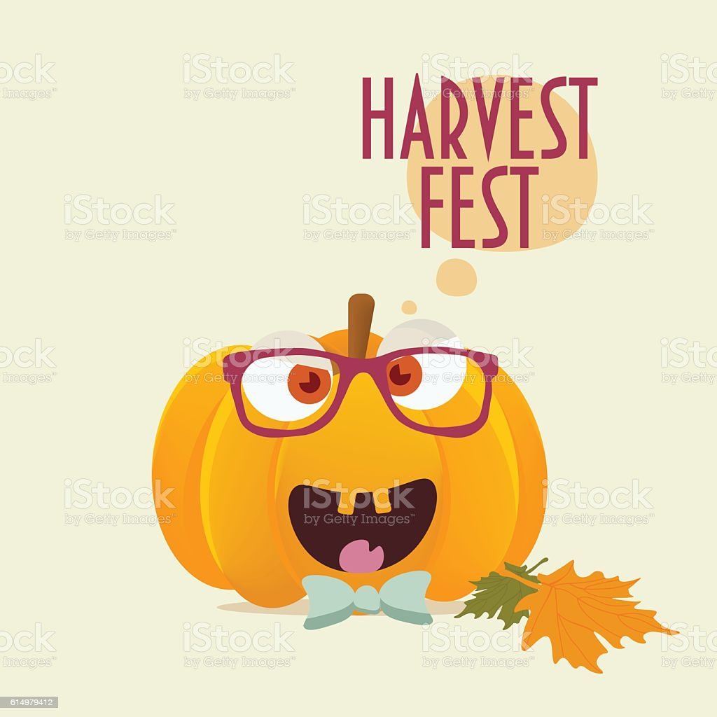 Harvest Fest Happy Pumpkin with glasses and bow tie on. vector art illustration