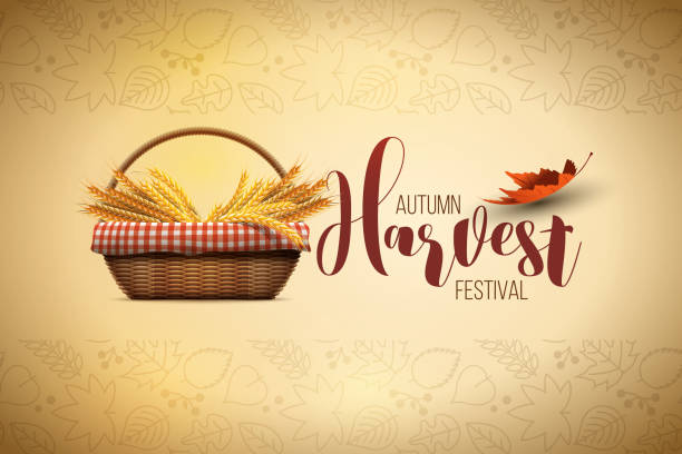 Harvest Festival Poster Design Vector autumn harvest festival poster design template. Elements are layered separately in vector file. harvesting stock illustrations