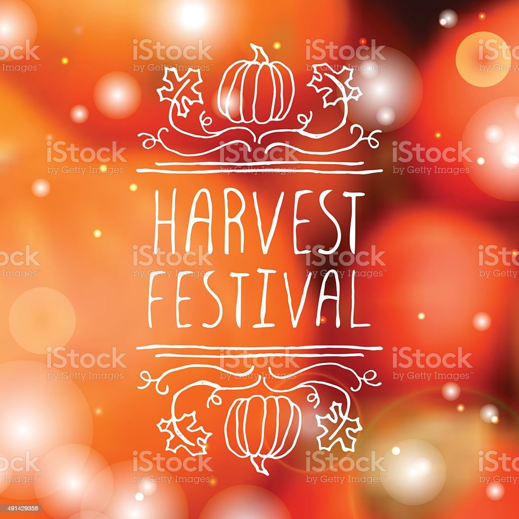 Harvest festival - typographic element vector art illustration