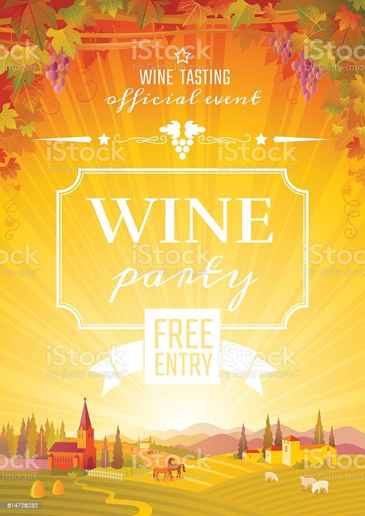 Harvest festival vector poster. Autumn landscape, wine party invitation design. vector art illustration