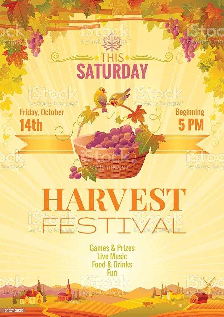 Harvest festival vector poster. Autumn landscape, winemaking farm invitation design. vector art illustration