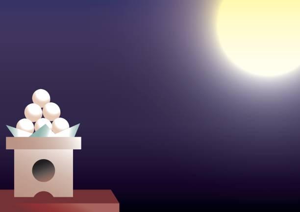 illustrazioni stock, clip art, cartoni animati e icone di tendenza di harvest moon background - miscanthus sinensis