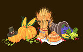 Harvest organic foods like fruit and vegetables, happy thanksgiving dinner card or banner background, harvesting grapes vector illustration