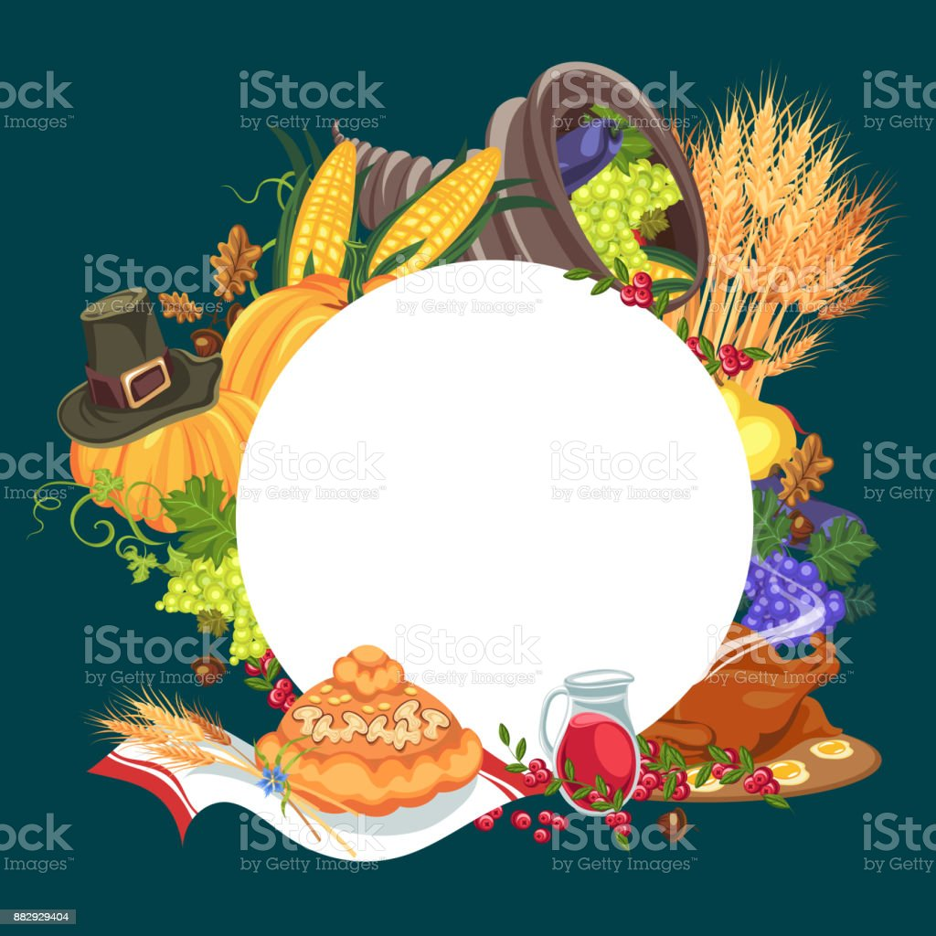 Harvest organic foods like fruit and vegetables, happy thanksgiving dinner card or banner background, harvesting grapes vector illustration vector art illustration