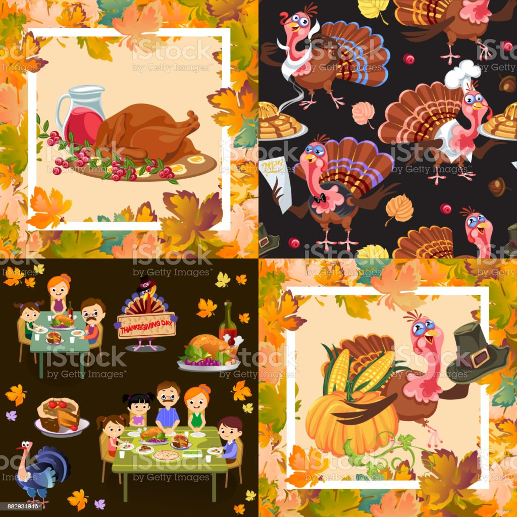 Harvest set, organic foods like fruit and vegetables, happy thanksgiving dinner background, vector illustration harvesting with pumpkin and stack of wheat ears, cranberry berries, bunches of grapes vector art illustration