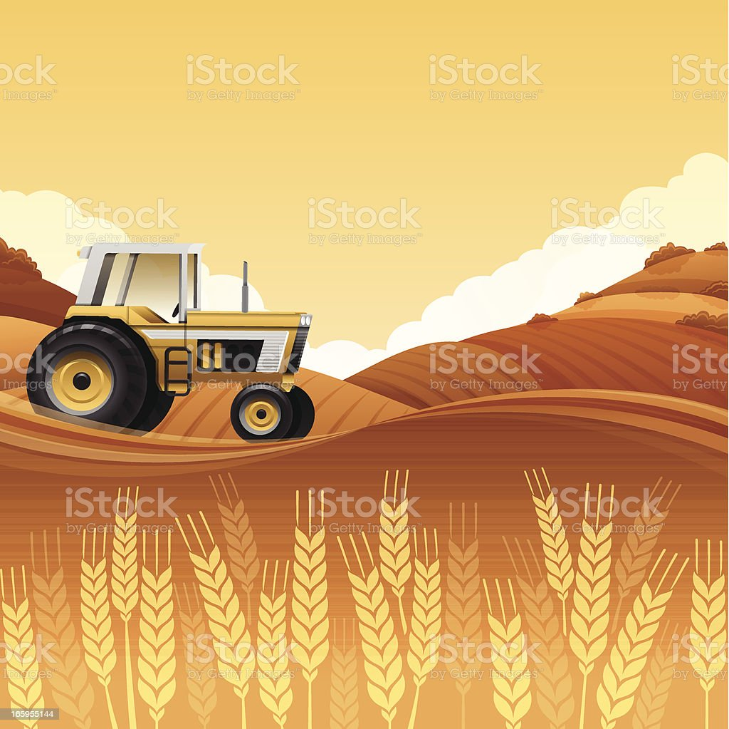 Harvest Tractor vector art illustration