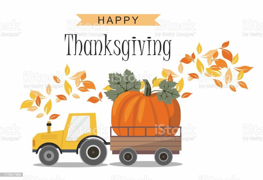 Harvest Truck with Pumpkin. Thanksgiving greeting card. - Grafika wektorowa royalty-free (Biały)