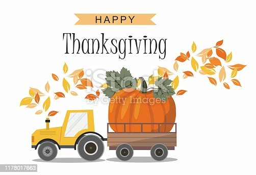Harvest Truck with Pumpkin. Thanksgiving greeting card. Vector Illustration