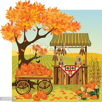 Vector of autumn harvest field. Global colors. No gradients used except for sky. Different elements grouped for easy editing. 300 dpi jpg included.