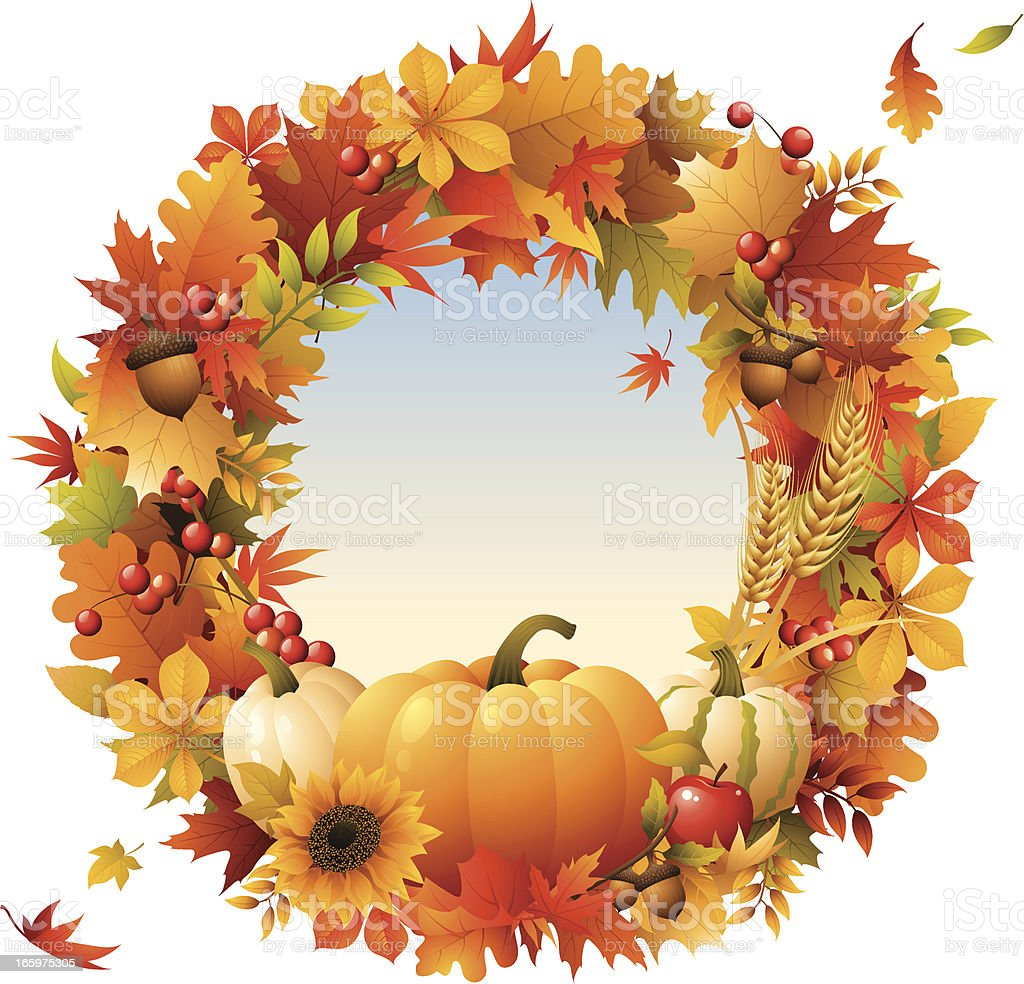 Harvest - wreath royalty-free harvest wreath stock vector art & more images of autumn