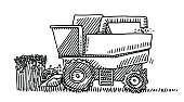 Hand-drawn vector drawing of a Harvester Agricultural Vehicle. Black-and-White sketch on a transparent background (.eps-file). Included files are EPS (v10) and Hi-Res JPG.