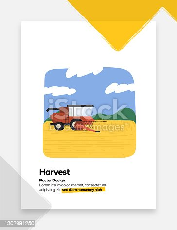 Harvesting Concept Flat Design for Posters, Covers and Banners. Modern Flat Design Vector Illustration.