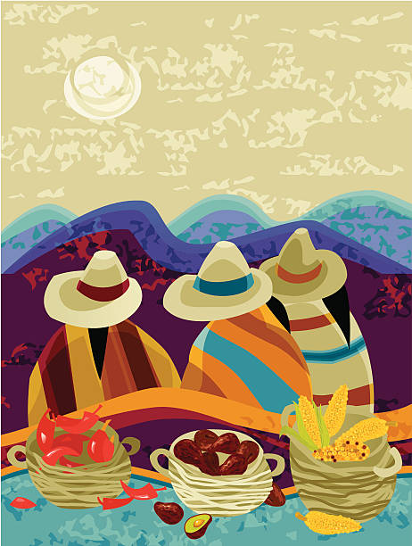 Harvesting Mexican Peasants vector art illustration
