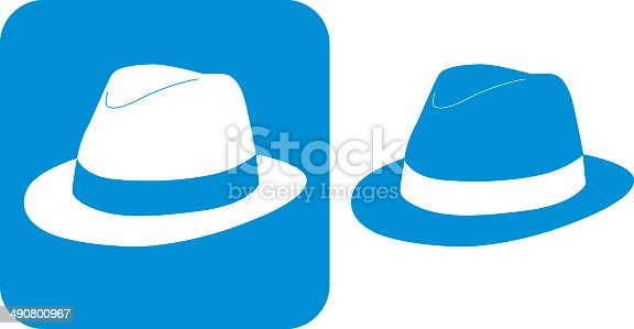 Vector illustration of two blue hat icons.