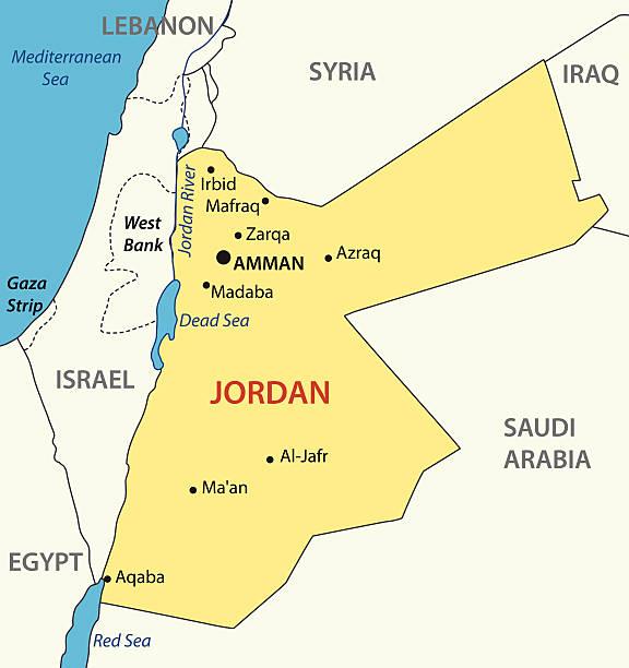 Hashemite Unido, mapa vectorial de jordania - ilustración de arte vectorial