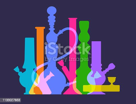 Colourful silhouettes of Hashish pipes, Bongs and Hookahs