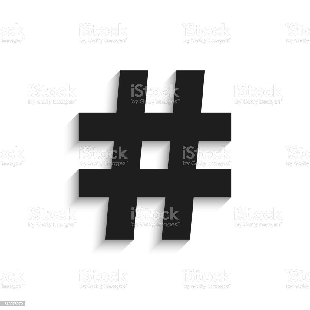 Hashtag black icon with shadow isolated on white background illustration