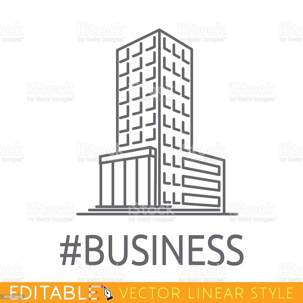 Hashtag Business building of big company. Sketch line flat design vector art illustration