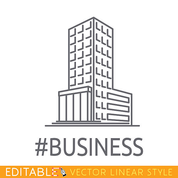 hashtag business building of big company. sketch line flat design - groß stock-grafiken, -clipart, -cartoons und -symbole