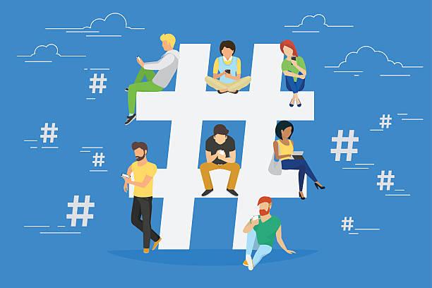 hashtag concept illustration - whatsapp stock illustrations, clip art, cartoons, & icons