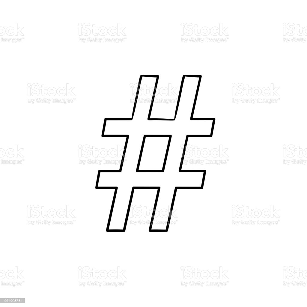 Hashtag hand drawn outline doodle icon - Royalty-free Black And White stock vector