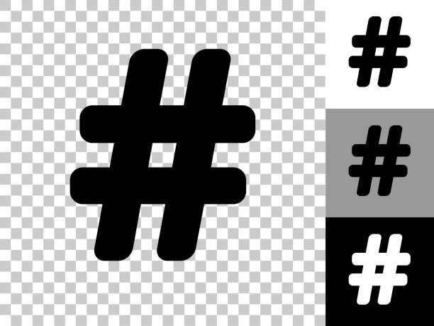 Hashtag Icon on Checkerboard Transparent Background vector art illustration