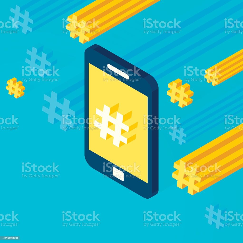 Hashtag Mobile Phone vector art illustration